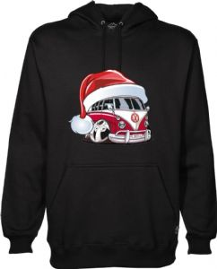 XMAS KOOLART SANTA HAT CHRISTMAS Design For VW Ratlook Split Screen Camper Van Hoodie Hooded Top